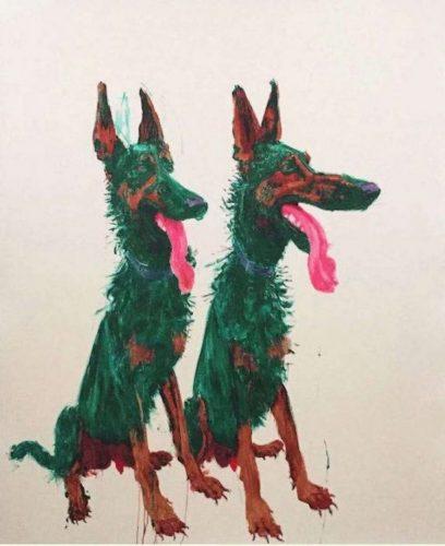 Green Dog no. 3 by Zhou Chunya
