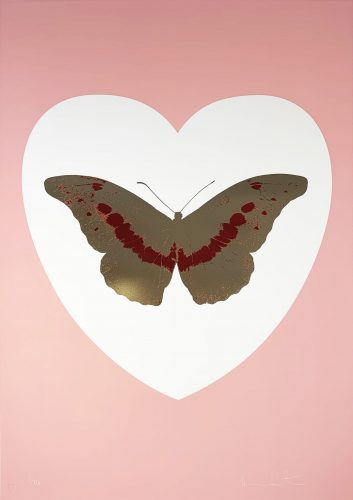I Love You – White/Pink/Cool Gold/Poppy Red by Damien Hirst