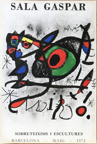 """Affiche pour l' exposition """"Sobreteixims i escultures"""". Sala Gaspar, Barcelona. by Joan Miro"""