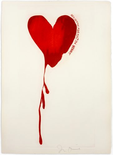 """Red Design for Satin Heart from """"The Picture of Dorian Gray"""" by Jim Dine at Petersburg Press"""