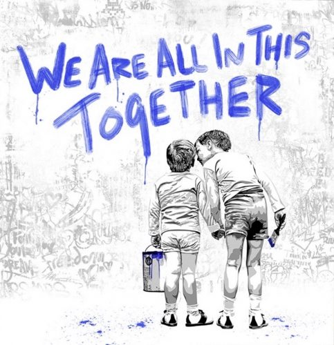 We are all in this together (Blue Edition) by Mr. Brainwash at