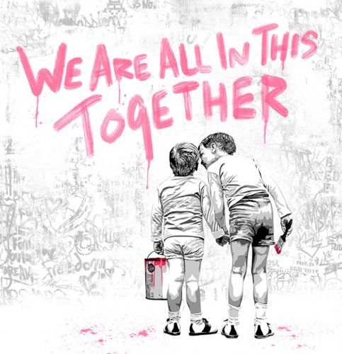We are all in this together (Fuchsia Edition) by Mr. Brainwash at