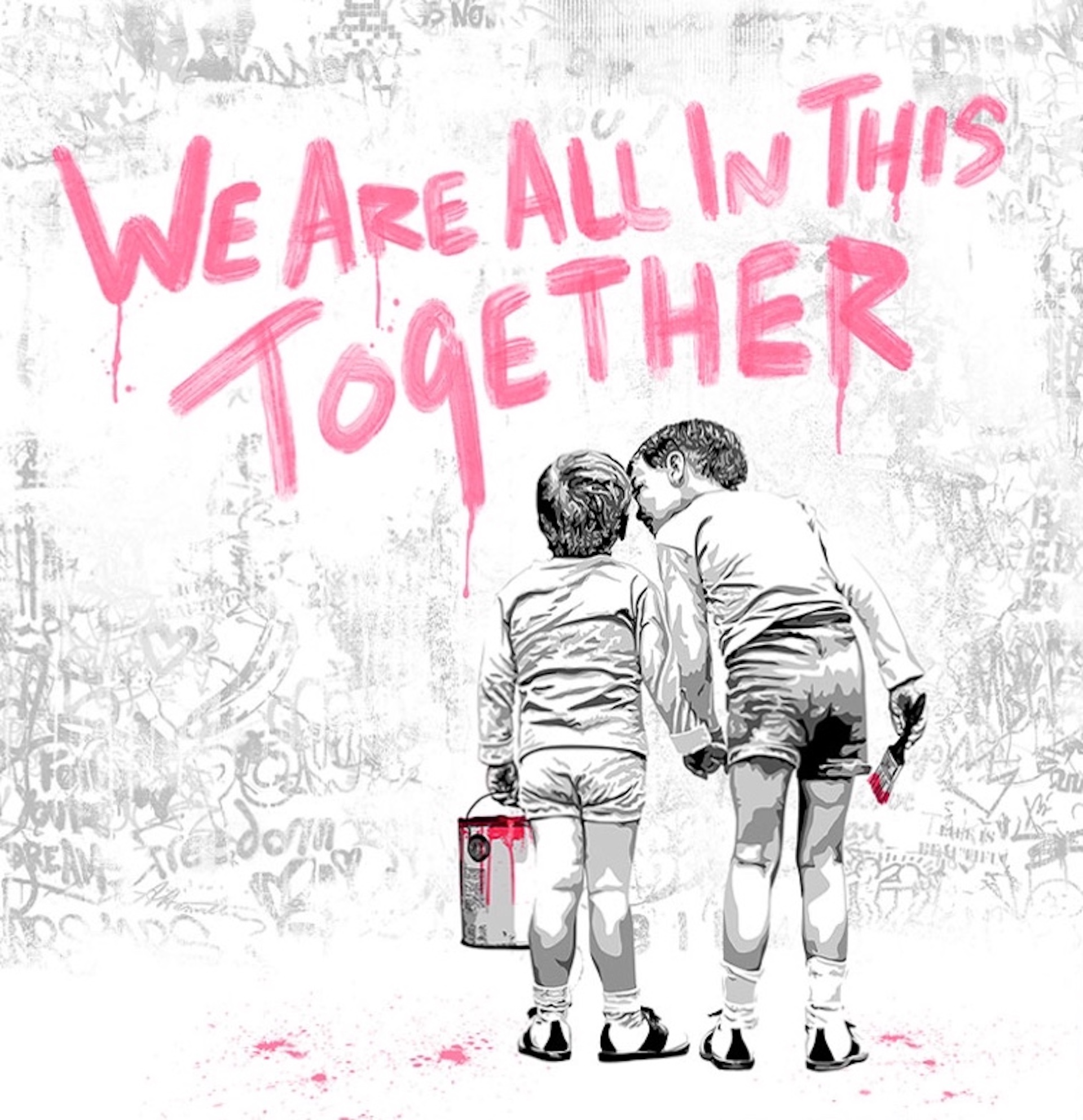 We are all in this together (Fuchsia Edition) by Mr. Brainwash