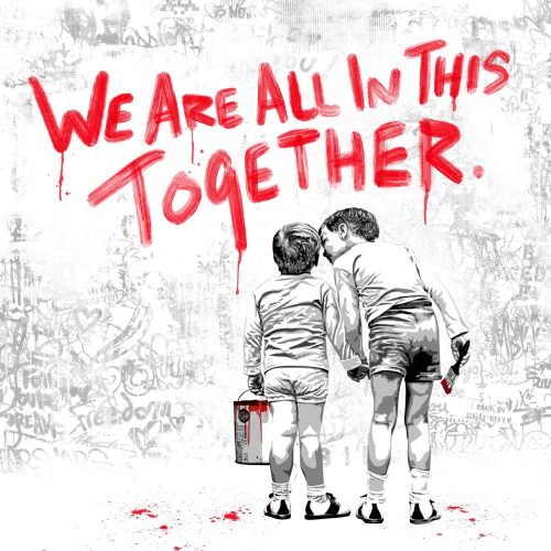We are all in this together (Red Edition) by Mr. Brainwash at Mr. Brainwash