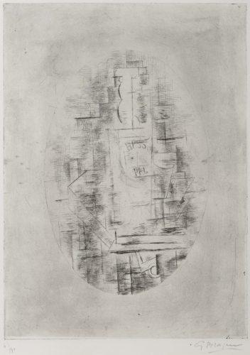 Pal (Bouteille de bass et Verre sur une table) by Georges Braque