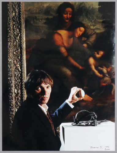 Selfportrait with an Egg and Leonardo's Madona (1996) by Braco Dimitrijevic at