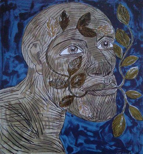 Green Man (Blue) by Elisabeth Frink