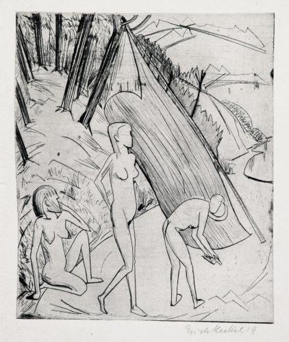 Drei Mädchen am Strand by Erich Heckel at