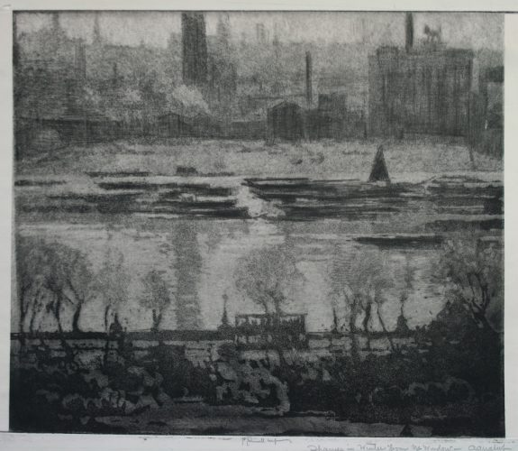 Dark Day on the Embankment by Joseph Pennell at
