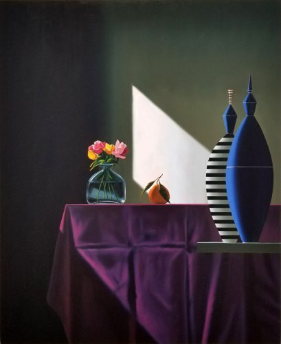 Blue and Striped Vessels Next to Purple Tablecloth by Bruce Cohen