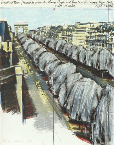 Wrapped Trees, Project for the Avenue des Champs-Elysées, Paris by Christo