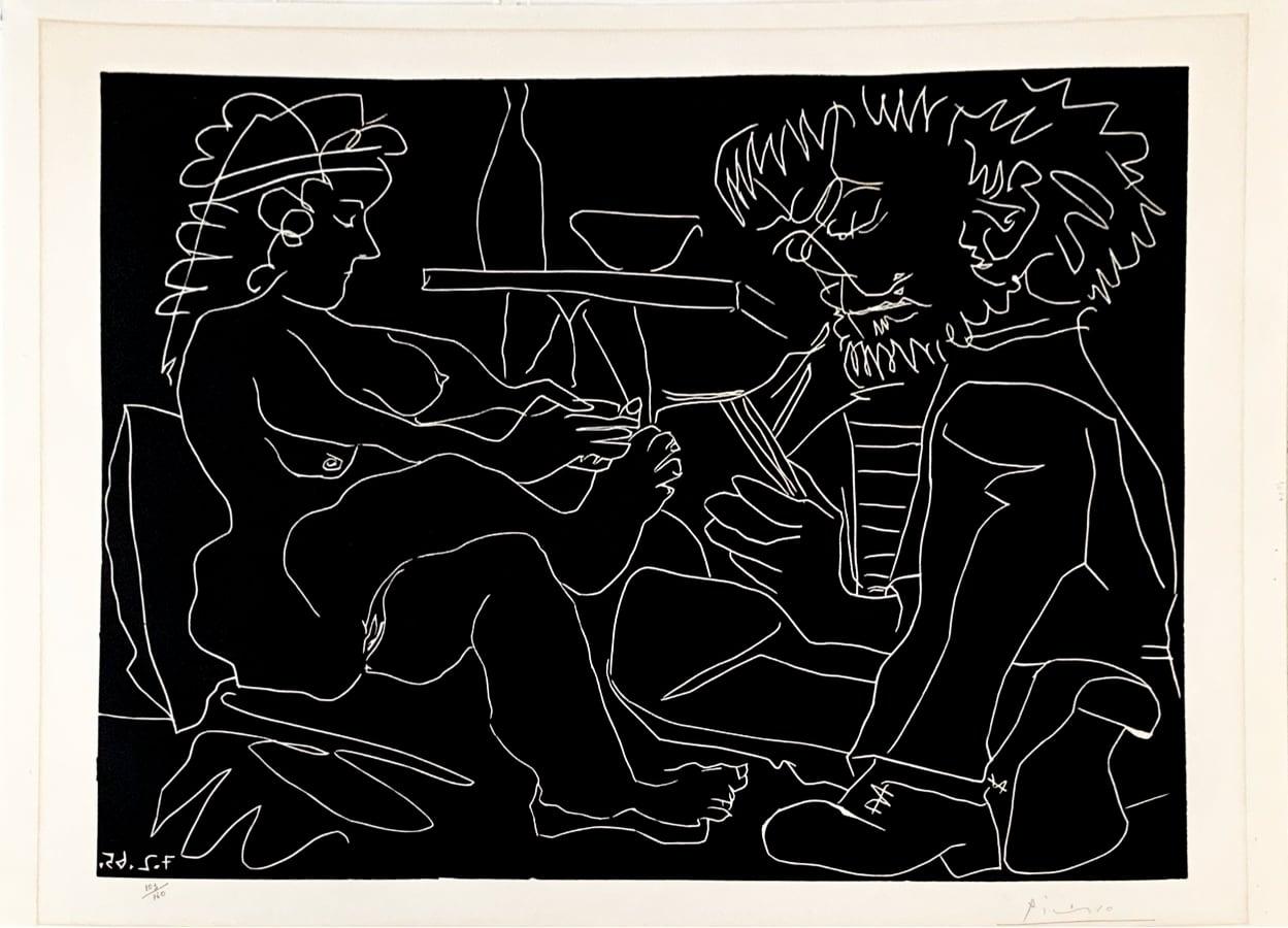 Peintre dessinant et modele nu au chapeau by Pablo Picasso