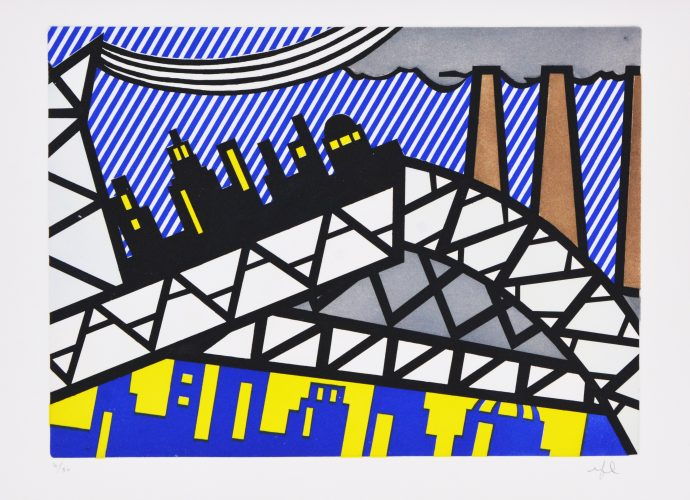 Illustration for 'Bayonne en Entrant dans NYC', from La Nouvelle Chute de l'Amérique by Roy Lichtenstein at Roy Lichtenstein