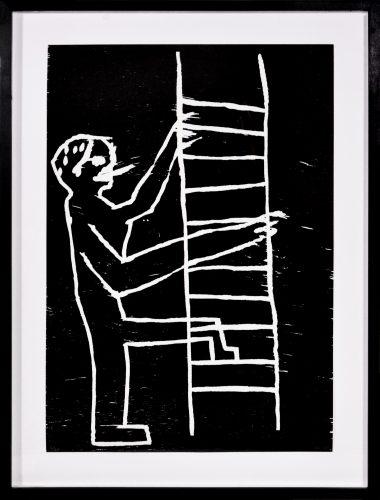 Man climbing by David Shrigley