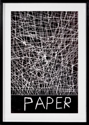 Paper by David Shrigley
