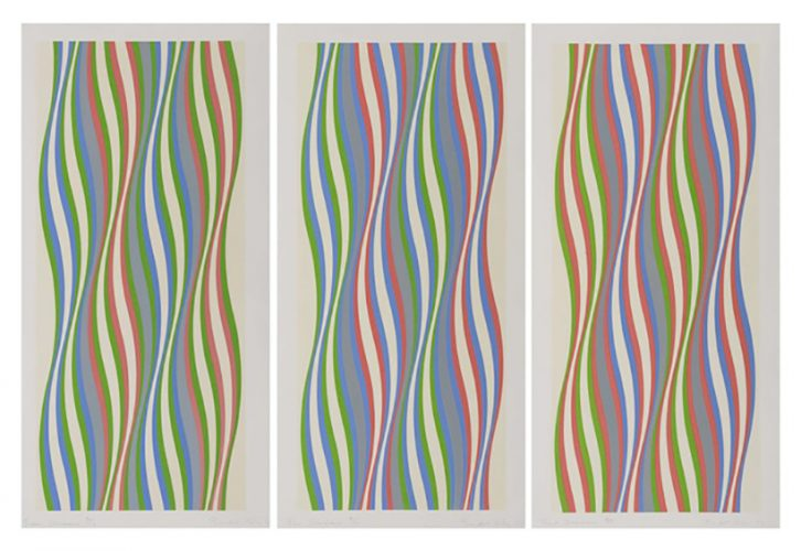 Green, Blue and Red Dominance by Bridget Riley at