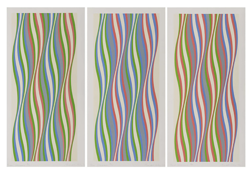 Green, Blue and Red Dominance by Bridget Riley