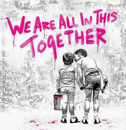 We Are All In This Together (Pink) by Mr. Brainwash at