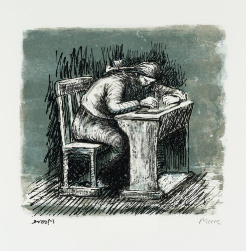 Girl Seated at Desk VI by Henry Moore