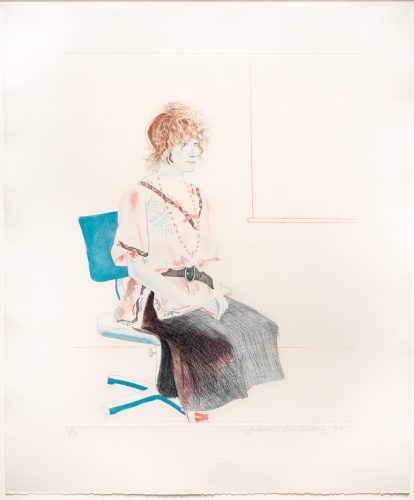 Celia Seated on an Office Chair by David Hockney