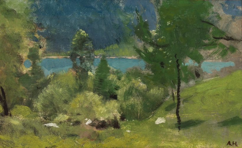 View of a Mountain Lake by Adolf Hiremy-Hirschl