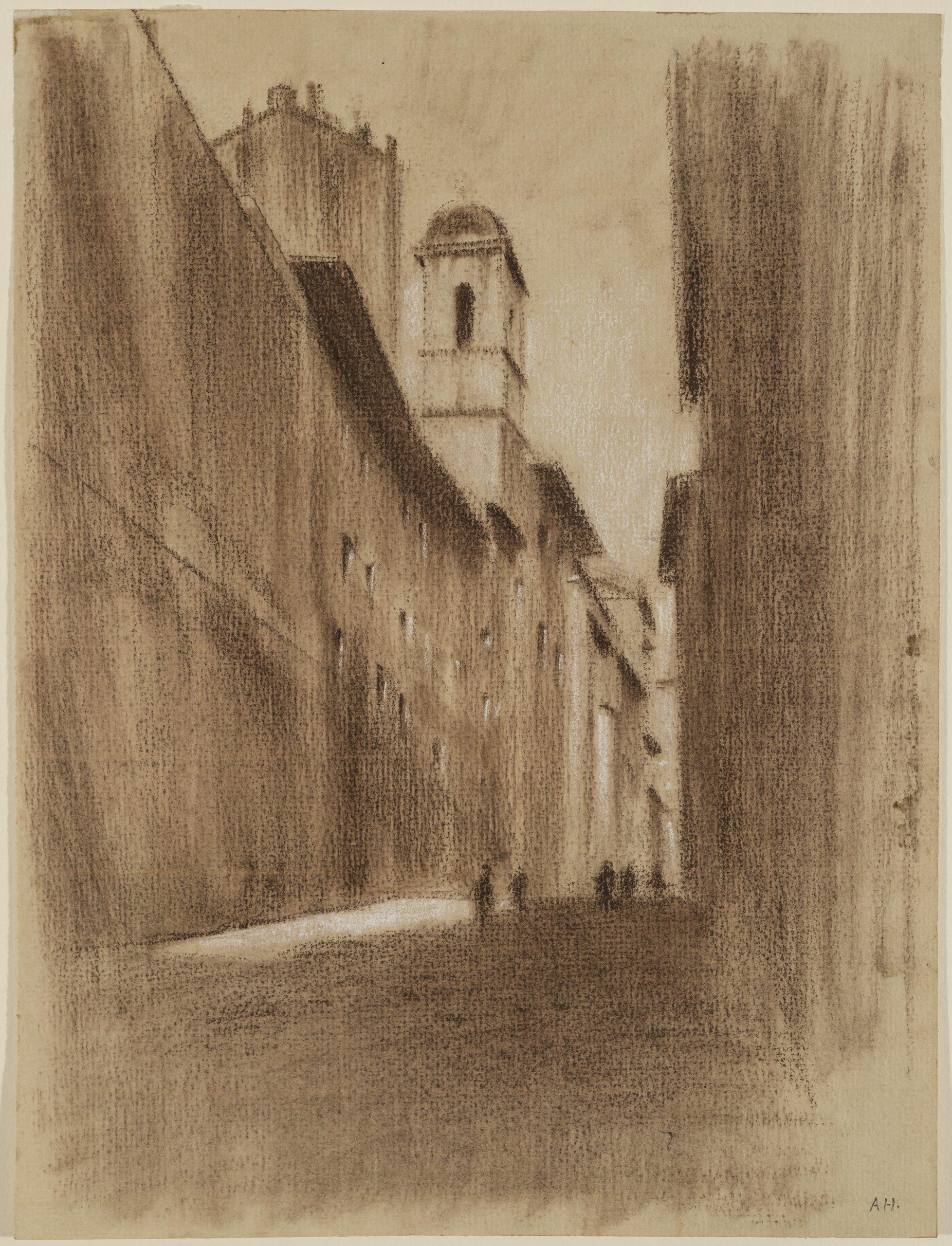 Alley Salita del Grillo in Rome by Adolf Hiremy-Hirschl