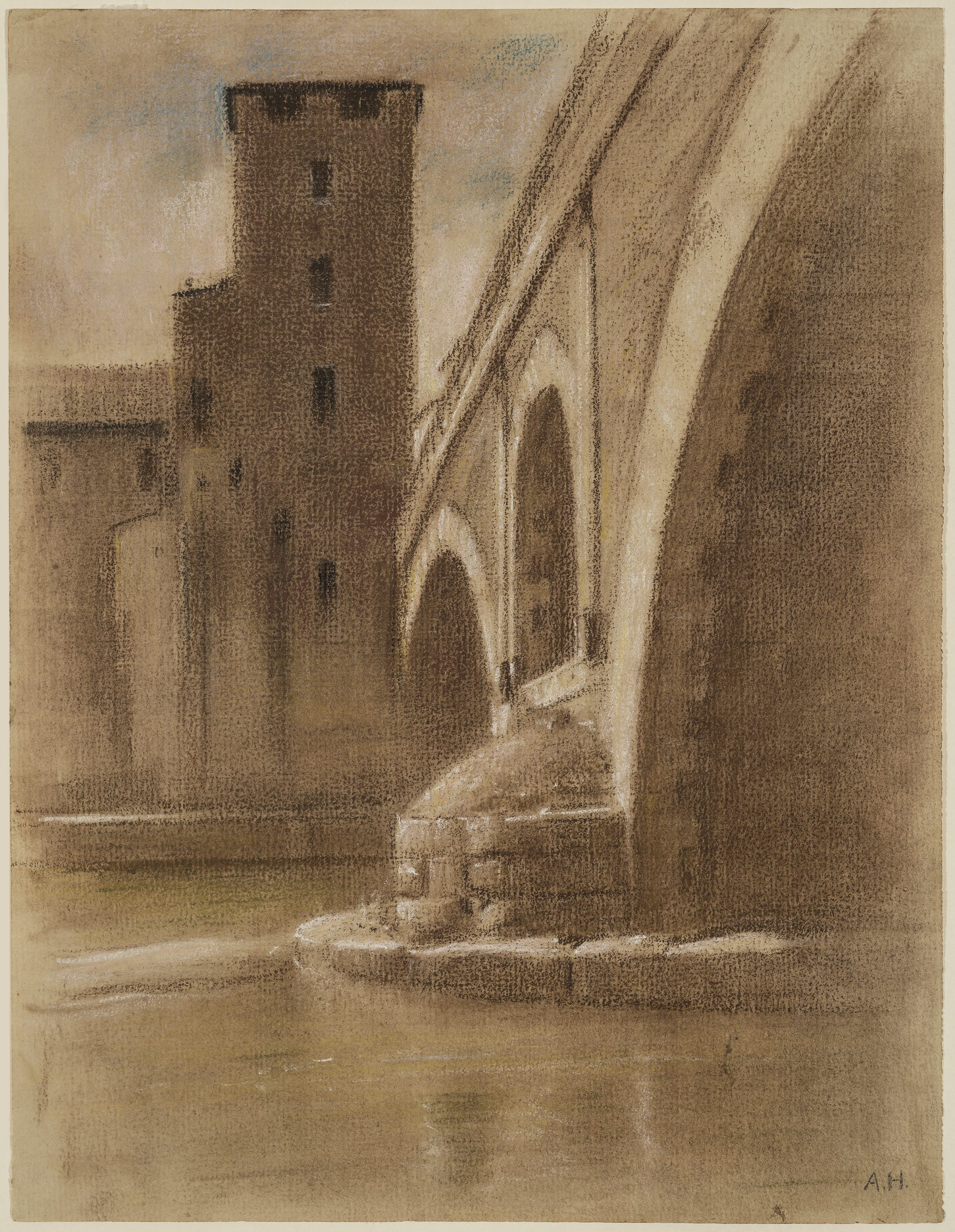 The Ponte dei Quattro Capi in Rome by Adolf Hiremy-Hirschl