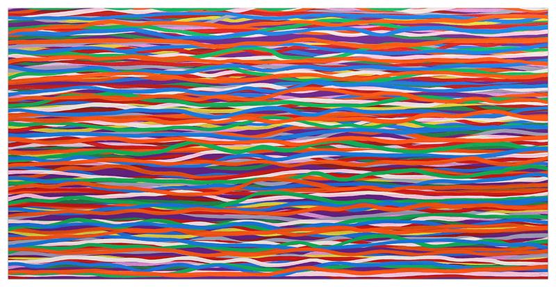 Horizontal Wavy Brushstrokes in Color by Sol LeWitt