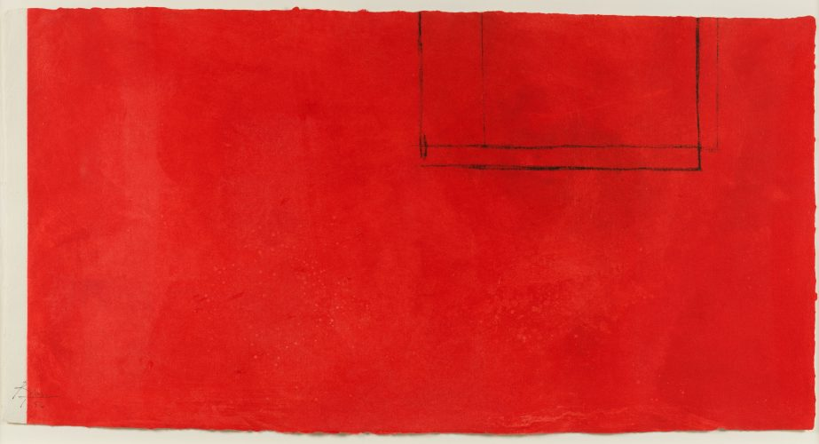 Red Open with White Line by Robert Motherwell at