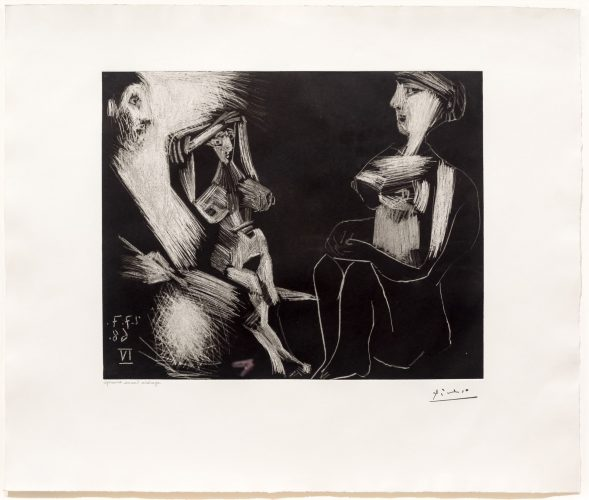 Homme avec Deux Femmes Nues, from the 347 Series by Pablo Picasso