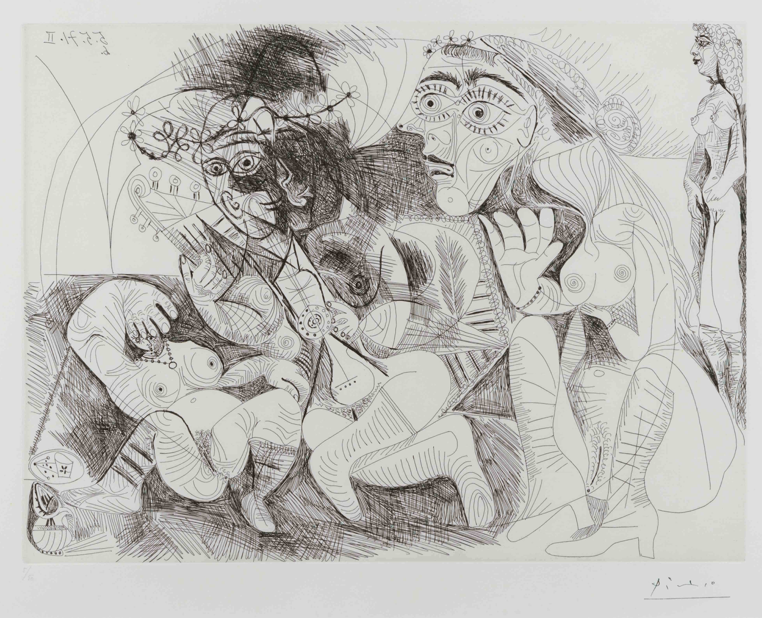 Filles Entre Elles- La Recreation en Masque, from the Series 156 by Pablo Picasso