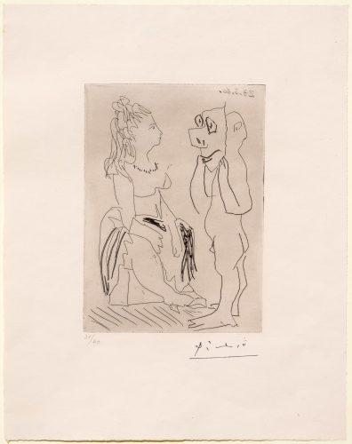 Homme Debout Avec Masque Devant Femme Assise by Pablo Picasso