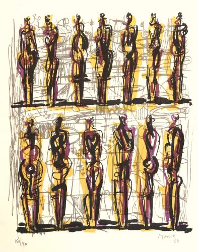 Thirteen Standing Figures by Henry Moore at
