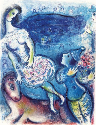 Woman Circus Rider and Amorous Clown by Marc Chagall