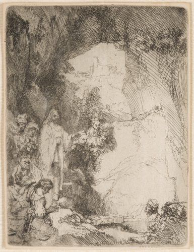 The Raising of Lazarus. Small Plate by Harmensz van Rijn Rembrandt at
