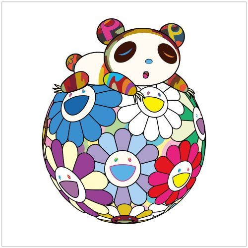 Atop a Ball of Flowers, a Panda Cub Sleeps Soundly by Takashi Murakami at
