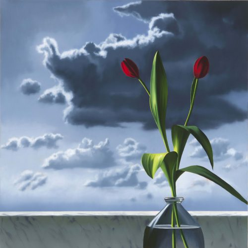 Red Tulips Against Cloudy Sky by Bruce Cohen