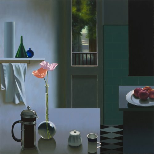 Interior with Coffee Pot and Poppies by Bruce Cohen at Leslie Sacks Gallery (IFPDA)