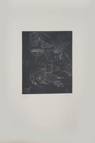 La même plaque que les nos 7 et 8 ('Nou Variacions sobre Tres Gravats de 1947-1948') by Antoni Tapies at
