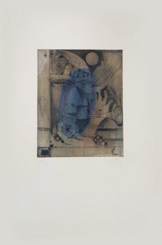 La Même plaque que le no 7 ('Nou Variacions sobre Tres Gravats de 1947-1948') by Antoni Tapies at
