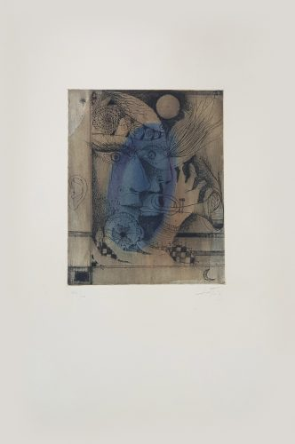 La Même plaque que le no 7 ('Nou Variacions sobre Tres Gravats de 1947-1948') by Antoni Tapies