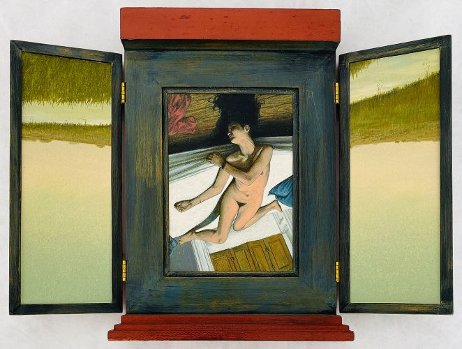 Untitled (Nude Woman on Bed in Marsh) by Lawrence Valenza at