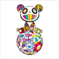 Atop a Ball of Flowers, a Panda Cub Sits Properly by Takashi Murakami at