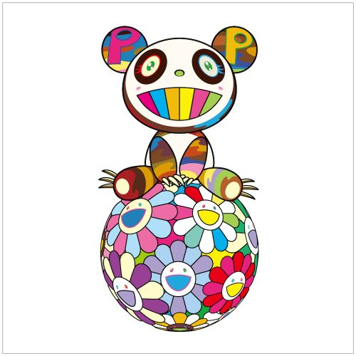 Atop a Ball of Flowers, a Panda Cub Sits Properly by Takashi Murakami at