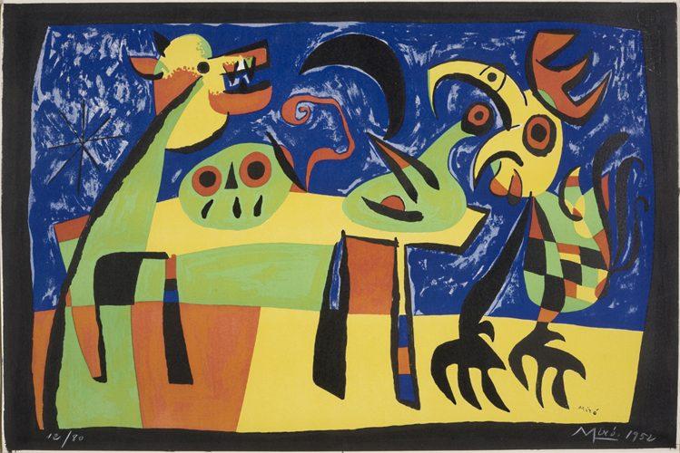 """""""Le chien aboyant à la lune reveille le coq le chant du coq picote le crane du fermier Catalan... by Joan Miro"""