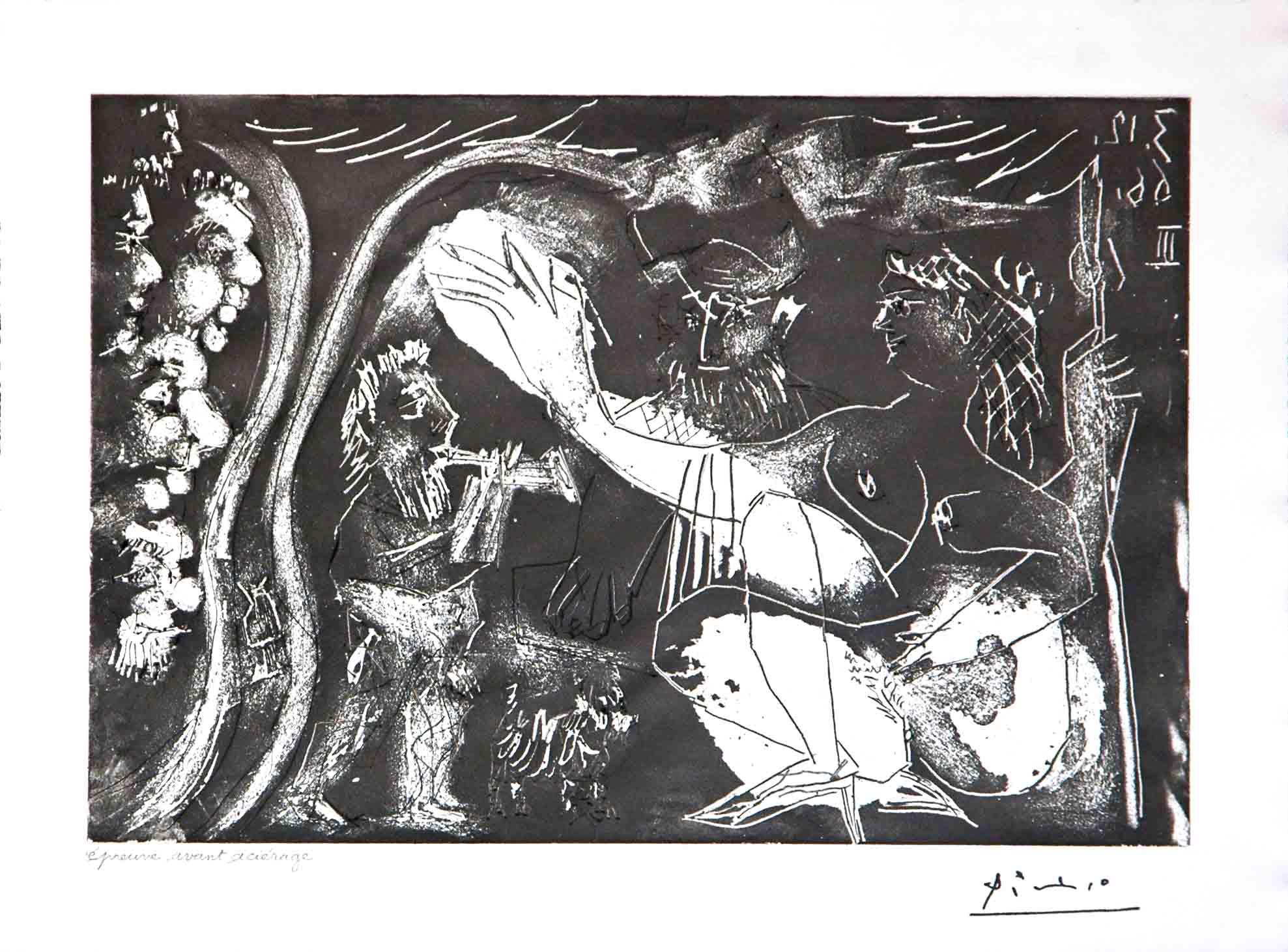 Au Theatre: Couple Avec un Flutiste et un Petit Chien, from the 60 Series by Pablo Picasso
