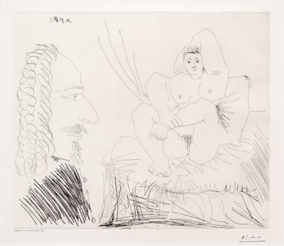 Courtisane au Lit avec un Visiteur, from the 347 Series by Pablo Picasso
