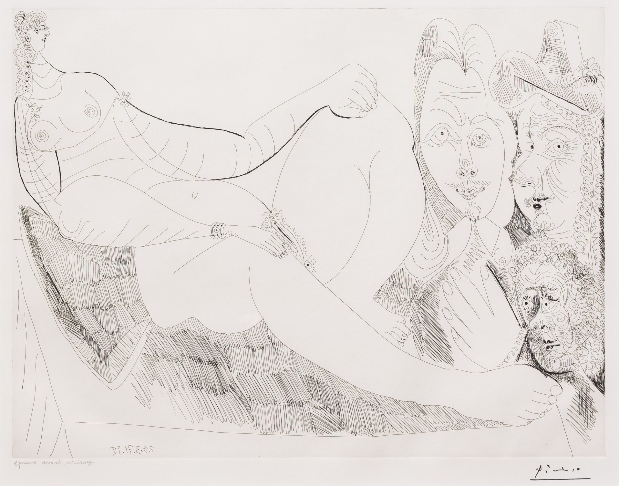 Femme au Lit avec Visiteurs…, from the 156 Series by Pablo Picasso