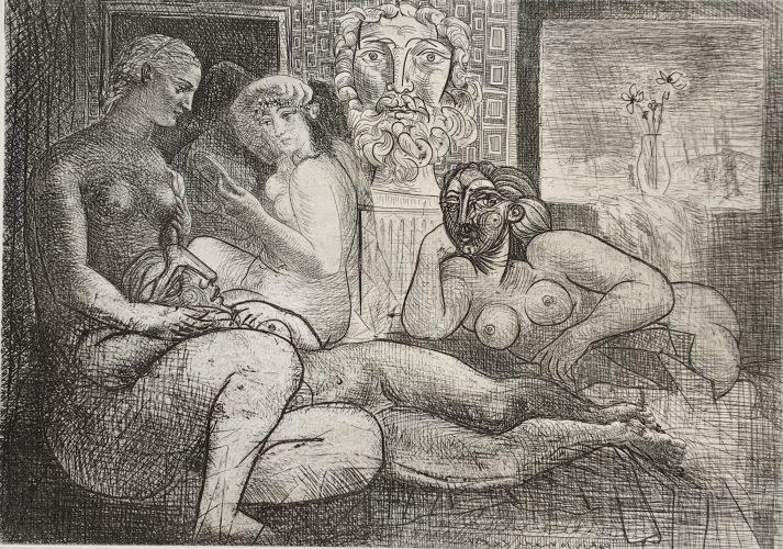 Quatres femmes nues et tête sculpteé from the Vollard Suite by Pablo Picasso