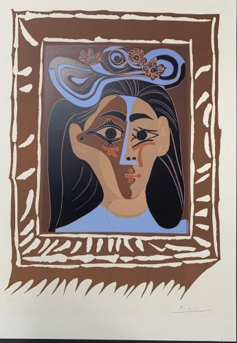 Le Femme a chapeau by Pablo Picasso at Andrew Weiss Gallery